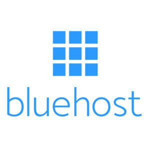 Bluehost logo graphic- how to start a blog